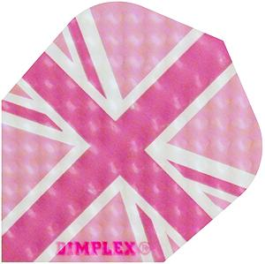 Harrows Dimplex Flights mit einem pink England Motiv. Inhalt: 3 Flights (100 Micron)